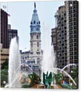 Logan Circle Fountain With City Hall In Backround Acrylic Print by Bill Cannon