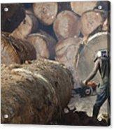 Logger Cutting Tree Trunk, Cameroon Acrylic Print