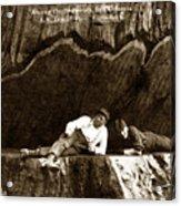 Logger With Ax On Springboard Loggers Sitting Inside Undercut  Circa 1890 Acrylic Print