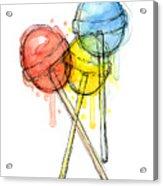 Lollipop Candy Watercolor Acrylic Print