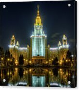 Lomonosov Moscow State University At Night Acrylic Print by Alexey Kljatov