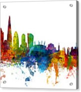 London And Warsaw Skylines Mashup Acrylic Print