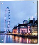 London Eye At Night Acrylic Print by Donald Davis