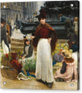 London Flower Girls Piccadilly Circus Acrylic Print