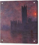 London Houses Of Parliament At Sunset  Acrylic Print