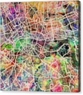 London Map Art Watercolor Acrylic Print by Michael Tompsett