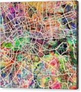 London Map Art Watercolor Acrylic Print by Michael Tompsett