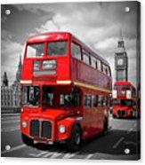 London Red Buses On Westminster Bridge Acrylic Print