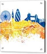 London Skyline Map City London Eye Acrylic Print
