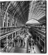 London St Pancras Station Bw Acrylic Print