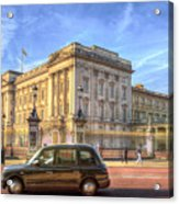 London Taxi And Buckingham Palace  Acrylic Print