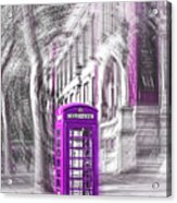 London Telephone Purple Acrylic Print