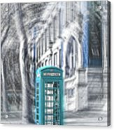 London Telephone Turquoise Acrylic Print