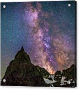 Lone Eagle Peak Dancing In The Milky Way Acrylic Print