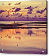 Lone Fisherman In Distance During Beautiful Reflected Sunset With Dramatic Clouds In Maldives Acrylic Print