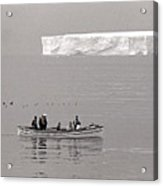 Lone Giant Iceberg And Small Sea Boat Acrylic Print