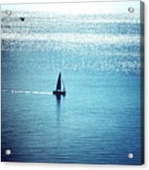 Lone Sailboat At Dawn Acrylic Print