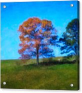 Lone Trees Painting Acrylic Print