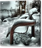 Lonely Bench In Snowfall Acrylic Print