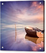 Lonely Boat And Amazing Sunset At The Sea Acrylic Print