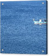 Lonely Fishing Boat Sailing On A Calm Blue Sea Acrylic Print