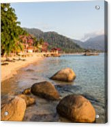 Long Chairs On A Beach In Pulau Tioman, Malaysia Acrylic Print