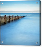 Long Exposure Of Blyth Beach Groyne Acrylic Print