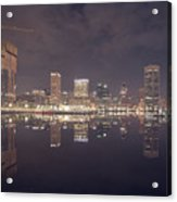 Long Exposure Of The Colorful Baltimore Skyline Acrylic Print