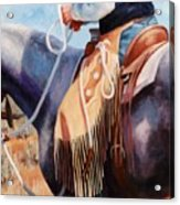 Long Fringed Chink Chaps Western Art Cowboy Painting Acrylic Print