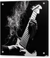 Long Hair Man Playing Guitar Acrylic Print