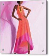 Long Orange And Pink Dress Fashion Illustration Art Print Acrylic Print