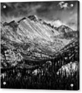 Longs Peak Rocky Mountain National Park Black And White Acrylic Print