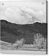 Longs Peak Snow Storm Bw Acrylic Print
