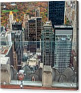 Looking Down At New York Central Park Surounded By Buildings Acrylic Print