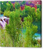 Looking Down On Navajo Falls And Havasu Creek Acrylic Print