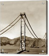 Looking North At The Golden Gate Bridge Under Construction With No Deck Yet 1936 Acrylic Print