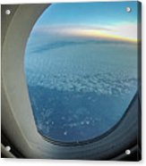 Looking Out Of Airplane Window During Flight Acrylic Print