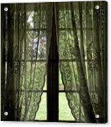 Looking Out The Window Of A Log Cabin Acrylic Print