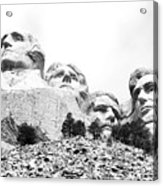 Looking Up At Mount Rushmore National Monument South Dakota Black And White Acrylic Print