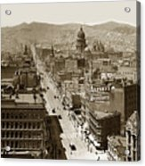 Looking Up Market Street From The Call Building With City Hall Circa 1900 Acrylic Print