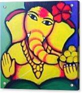 Lord Ganesh By  Sarada Tewari Acrylic Paint On Canvas 24x28inch Acrylic Print