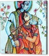 Lord Radha Krishna's Divine Love Acrylic Print by Kavita Sarawgi