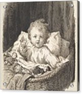 Lorenz Frolich Danish, Copenhagen 1820-1908 Hellerup, Child In A Crib Acrylic Print