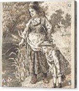 Lorenz Frolich Danish, Copenhagen 1820-1908 Hellerup, Three Little Girls In A Room Arguing And Spi Acrylic Print