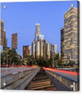 Los Angeles Downtown Night Scene Acrylic Print