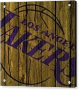 Los Angeles Lakers Wood Fence Acrylic Print