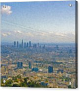 Los Angeles Skyline Between Power Lines Acrylic Print