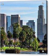 Los Angeles Skyline From Echo Park Acrylic Print