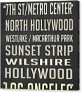 Los Angeles Vintage Places Poster Acrylic Print