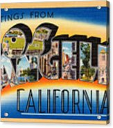 Los Angeles Vintage Travel Postcard Restored Acrylic Print